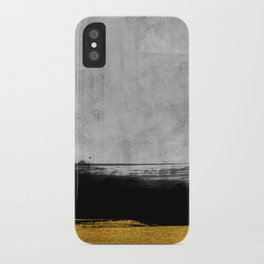 Black and Gold grunge stripes on modern grey concrete abstract backround I - Stripe - Striped iPhone Case