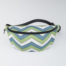 Blue Green and White Chevrons Fanny Pack