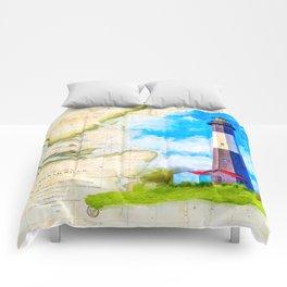 Tybee Island Lighthouse - Vintage Nautical Map Collage Comforters