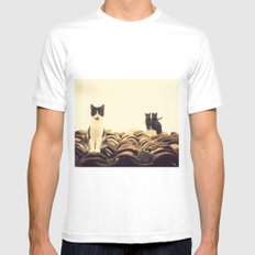 gatos en el tejado MEDIUM Mens Fitted Tee White