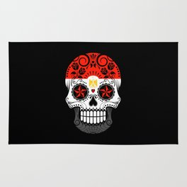 Sugar Skull with Roses and Flag of Egypt Rug