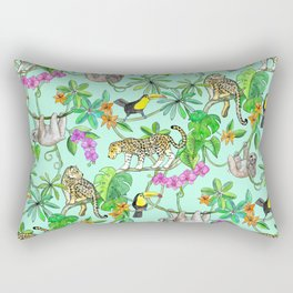 Rainforest Friends - watercolor animals on mint green Rectangular Pillow