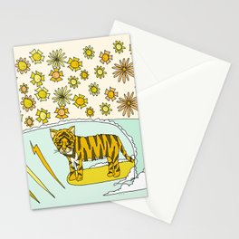 be a cool kitten // tiger cub shreds // retro surf art by surfy birdy Stationery Cards