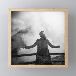 Ghost of Owakudani Mountain in Japan - Black & White Photography Framed Mini Art Print