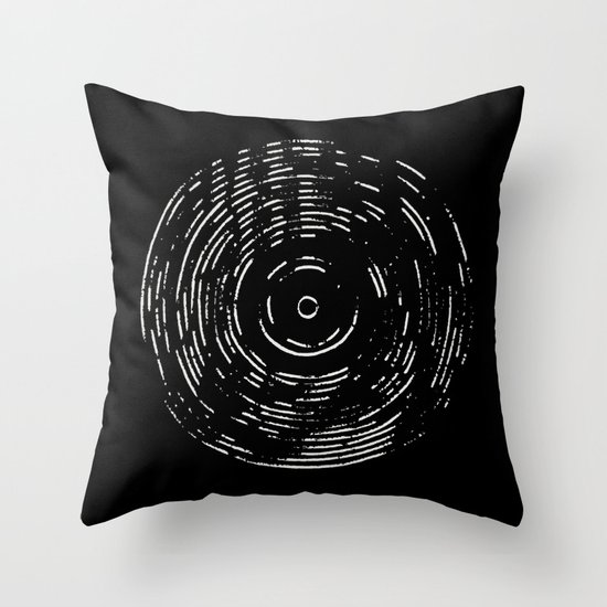 Record White on Black Throw Pillow