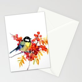 Great tit and berries Stationery Cards