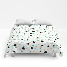 Teal, Faux Gold, & Black Speckled Paint Daubs Comforters