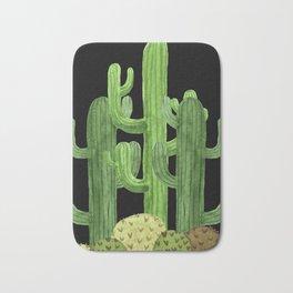 Desert Vacay Three Cacti on Black Bath Mat