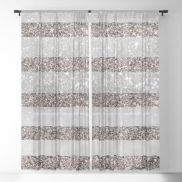 White Marble Rose Gold Glitter Stripe Glam #2 #minimal #decor #art #society6 Sheer Curtain