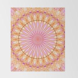 Mandala in pink, yellow and orange tones Throw Blanket