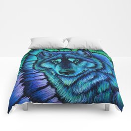 Blue Wolf Aurora Colorful Fantasy Comforters