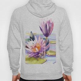 Water Lily,  Lotus, Asian Ink drawing Zen brush pink purple flower Hoody