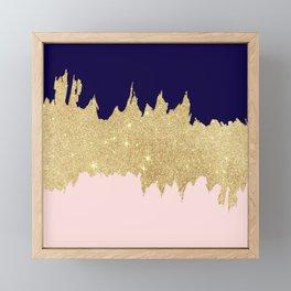 Modern navy blue blush pink gold glitter brushstrokes Framed Mini Art Print