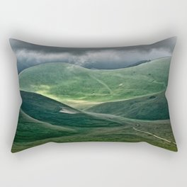 The hills of Castelluccio during a thunderstorm Rectangular Pillow