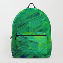 SEA SCALES in GREEN - Bright Green Ocean Waves Beach Mermaid Fins Scales Abstract Acrylic Painting Backpack