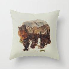 Wild Grizzly Bear Throw Pillow