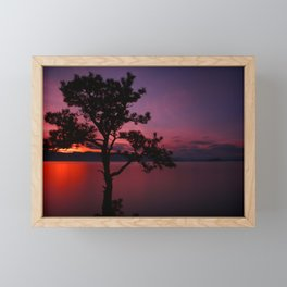Purple and Red Montana Sunset over Flathead Lake Framed Mini Art Print