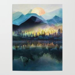 Mountain Lake Under Sunrise Poster