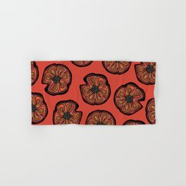 Rusted Poppy Pattern - red and brown poppies autumn fall Hand & Bath Towel