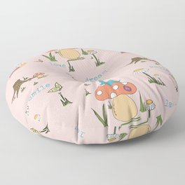 Joyful Mushroom - Love, dream, laugh, smile Floor Pillow