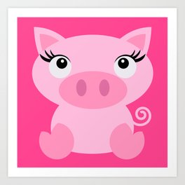 Pinky Pig Art Print