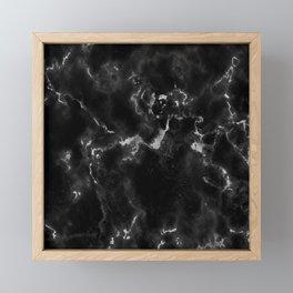 Elegant black silver stylish abstract marble Framed Mini Art Print