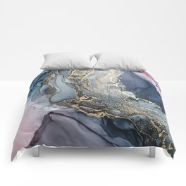 Blush, Payne's Gray and Gold Metallic Abstract Comforters