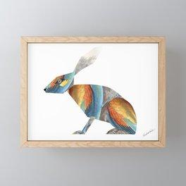 Rabbit Collage in Rainbow Feathers Framed Mini Art Print