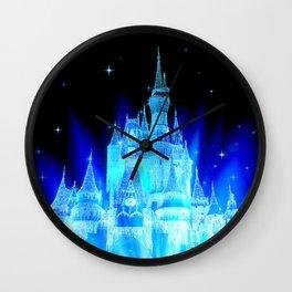 Blue Ice Frozen Enchanted Castle Wall Clock