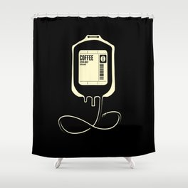 Coffee Transfusion - Black Shower Curtain