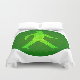 Green Walking Man Duvet Cover