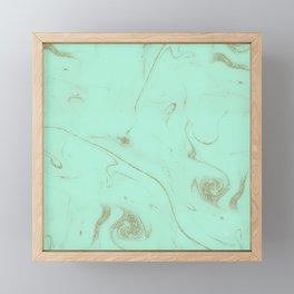 Elegant gold and mint marble image Framed Mini Art Print