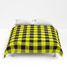 Bright Yellow and Black Lumberjack Buffalo Plaid Fabric Comforters
