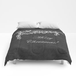 Merry Christmas Holly Bell Chalkboard Comforters