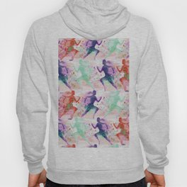 Watercolor women runner pattern with red mint and dark purple Hoody