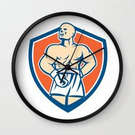 Boxer Champion Shouting Shield Retro Wall Clock