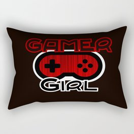 Red Gamer Girl Rectangular Pillow