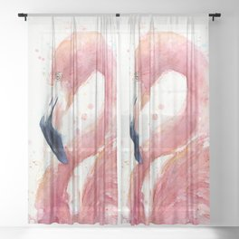 Pink Flamingo Watercolor Sheer Curtain