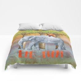 ELE FUN - Elephant Elephants Africa Watercolor Illustration Comforters