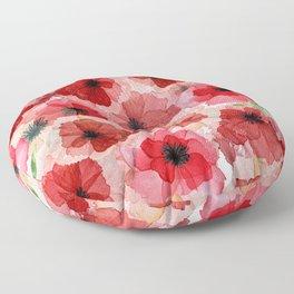 Pressed Poppy Blossom Pattern Floor Pillow