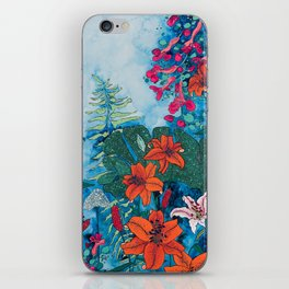 Blue Jungle of Orange Lily and Pink Trumpet Vine Floral iPhone Skin