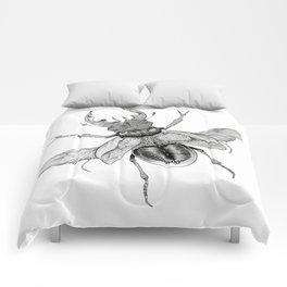 Dotwork Flying Beetle Illustration Comforters