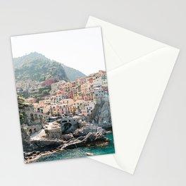 Pastel Houses in Cinque Terre, Manarola Town | Italy Fine Art Travel Print | Amalfi Coast, Italy Stationery Cards