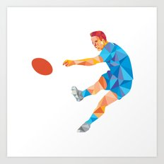 Rugby Player Kicking Ball Low Polygon Art Print
