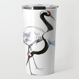 Japanese Cranes, Asian ink Crane bird artwork design Travel Mug