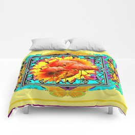 Ornate Yellow Art Flamingos Turquoise-Blue Design Comforters