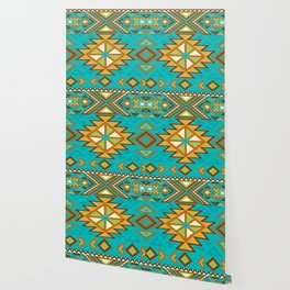 Native Aztec Tribal Turquoise Rug Pattern Wallpaper
