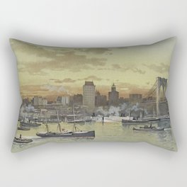 Vintage Pictorial View of NYC (1896) Rectangular Pillow