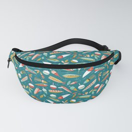 Fishing Lures Blue Fanny Pack