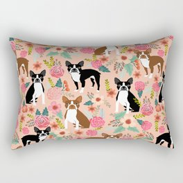 Boston Terrier cute floral pattern spring summer happy pet portrait dog person gift must haves dogs Rectangular Pillow